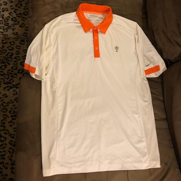 d64ce8b8 Nike Shirts | Golf White W Orange Collar Polo Shirt M | Poshmark